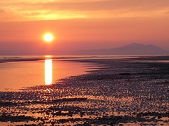 Sunset in Barmouth (lesleydugmore) Tags: sea ripples sand gold golden sunset evening britain wales northwales outside outdoor uk europe mountain bramoth sun reflection twilight bay water dyffrynbeach dyffrynardudwy snowdonia snowdonianationalpark