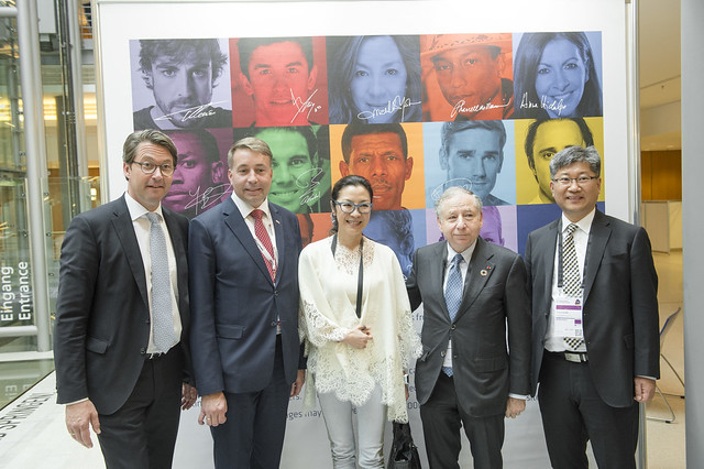 "Andreas Scheuer, Uldis Augulis, Michelle Yeoh, Jean Todt and Young Tae Kim at the exhibition at the International Transport Forum's 2018 Summit on ""Transport Safety and Security"" in Leipzig, Germany on 24 May 2018."