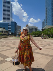 The Uptown Girl Visits Downtown (Laurette Victoria) Tags: lakefront milwaukee spring laurette woman sunglasses silver purse dress