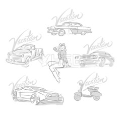 Set of vintage and modern cars drawings (Hebstreits) Tags: art auto automobile automotive background badge banner black car cars classic collection design drive emblem engine garage graphic icon illustration isolated label logo machine mechanic model motor muscle old race repair retro service set shop sign silhouette speed sport style symbol technology transport transportation vector vehicle vintage wash wheel white