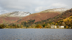 Grasmere lake and Seat Sandal (Joe Dunckley) Tags: britain british cumbria england english grasmere grasmerelake greatbritain lakedistrict seatsandal southlakeland uk unitedkingdom westmorland architecture autumn building fall house lake landscape mountain nature snow water