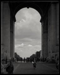 Looking through the Arc de Triomphe... (zapperthesnapper) Tags: arcdetriomphe france architecture paris blackandwhite mono monochrome monochromatic samsunggalaxys4 samsung