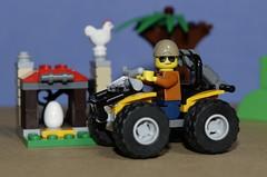 Fun down on the farm (N.the.Kudzu) Tags: tabletop lego farm atv boy chicken canondslr canoneflens macro flash primelens