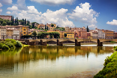 Ponte alle Grazie, Florence, Italy (mikael_blue) Tags: florence toscana river bridge italy tuscany firenze sky italia arno city water architecture building reflections canon