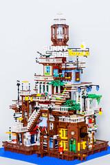 Sunny Side Terrace (morimorilego) Tags: lego legomoc legocity legohouse legoarchitecture minifigure town legotown miniature
