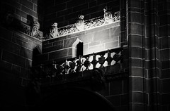Romeo Romeo...... (jmiller35) Tags: liverpool merseyside cathedral balcony spotlight lowvisibility blackwhite blancoynego bw canon cathedralinteriors