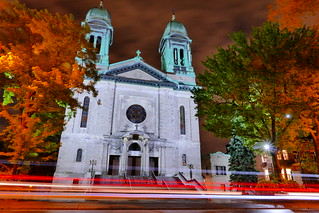 Traffic at Night and Saint-Marc's Church - Central Montreal