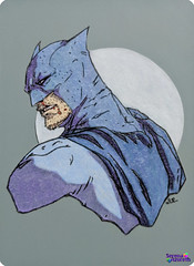 SerenaAzureth_ATC_BatmanBlue2 (SerenaAzureth) Tags: serenaazureth handdrawn sketch drawing atc artist trading card swapbot swap bot batman blue bluebatman superhero super hero dc