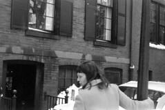 021469 25 (ndpa / s. lundeen, archivist) Tags: nick dewolf nickdewolf february blackwhite photographbynickdewolf bw 1969 1960s 35mm film monochrome blackandwhite boston massachusetts mass building lamppost woman brunette maggie car vehicle automobile parkedcar beaconhill snow snowy winter mtvernonsquare 2mtvernonsquare