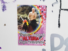Putin-Youth Altona against homophobia (Rasande Tyskar) Tags: sticker poster city street hamburg germany words text putinyouth altona putin youth homophobia against homobhobie protest gay rights gegen horse 93