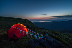 'Snowdonia Glamping' - Y Llethr, Snowdonia (Kristofer Williams) Tags: wildcamp wildcamping tent dusk twilight mountain flags bunting light evening summer snowdonia wales glamping hilleberg yllethr rhinogydd camping