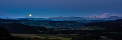 Moonshine - Emmental (uhu's pics) Tags: landscape landschaft nature outdoor panorama xf35mmf2 fujinon fujifilm fuji shine moonshine light switzerland alps mountains hills valley evening full moon dämmerung leuchten scheinen mondschein licht schweiz emmental rüderswil alpen berge hügel tal abend vollmond mond mondaufgang moonrise