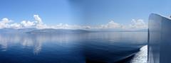 146 | Albania (probably) (panorama) (Mark & Naomi Iliff) Tags: mv elyros ελυροσ anek ανεκ aboard afloat ferry ship atsea adriatic mediterranean albania shqipni panorama clouds reflections sea