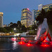 The Dolphin Fountain near the shopping center of Suria and the Petronas Twin Towers