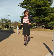 Office Girl (justplainrachel) Tags: justplainrachel rachel cd tv crossdresser trans transvestite satin blouse black skirt tight heels office secretary cardigan selfie selfportrait