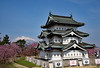 Hirosaki Castle with cherry blossoms and a snow-covered mountain (takashimuramatsu) Tags: cherry blossoms hirosaki castle iwaki iwakisan nikon d810 弘前 弘前城 天守閣 桜