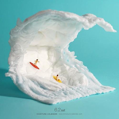 """. 6.2 sat """"Baby Surfer"""" . 「波にビビってちびるなよ!」 . #おむつの日 #おむつ #サーフィン #Diapers #Surfing . ─────────────── 《展覧会情報》 #MINIATURELIFE展 #ミニチュアライフ展 . 【MINIATURE LIFE展 in 熊本】 5月30日(水)-6月10日(日) 鶴屋百貨店 . 【MINIATURE LIFE展 in 鹿児島】 6月14日(木)-6月30日(土)山形屋文化ホール . ─────────────── 《"""