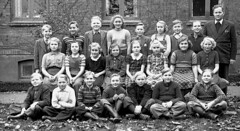 Class photo (theirhistory) Tags: children kids boy girl school pupils group teacher jumper trousers shoes wellies rubberboots