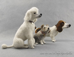 Collection Basset Poodle Terrier  May 2018 (GaiaGolden) Tags: needle felt felted wool sculpture dogs mongrel basset hound poodle standard terrier harold maude polly handmade fibre arts miniature ornament grooming together row