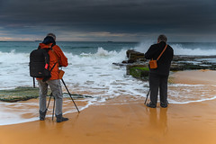 A splash of colour - Capturing the Mood (Merrillie) Tags: wamberalbeach sand nature dawn surf wamberal newsouthwales sea nsw beach ocean coastal outdoors daybreak landscape cloudy australia overcast weather clouds earlymorning men people waves sunrise centralcoast water morning photographers seascape waterscape coast sky seaside