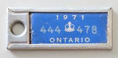 Ontario 1971 (jmaxtours) Tags: thewaramps thewaramputationsofcanada keytags tags theamputationclubofbritishcolumbia ontario licensetags fundraiser ontario1971 ontariolicenseplate 1971