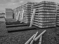 Sleepers (harrytaylor6) Tags: blackandwhite blackwhite monochrome concrete sleepers gravel clouds timber industrial gateshead tyneyard railway depot