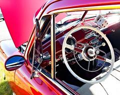 Interior view of a 50-something Ford Custom (delmarvausa) Tags: red vintage classiccars redcars classic carsofthepast vintagecar automobile restored classics automobiles vintageautomobiles carcruise delmarvacarshows sbymd salisburymaryland salisburymd easternshore marylandcarshows cruisein carshows wheelsthatheal wicomicocounty delmarva delmarvapeninsula delmarvacarshow vintageford ford fordcustom oldford fordsedan