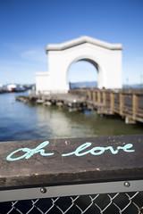 oh love (eb78) Tags: ca california sf sanfrancisco fishermanswharf pier43 graffiti scrawl