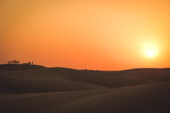 Desert Dreams (preze) Tags: thar tharr desert groseindischewüste थार मरुस्थल thaarmarusthal sandwüste samsanddunes dünen dune sunset sundown sonnenuntergang abend himmel orange sanddune sand jaisalmer rajasthan indien india nordindien northindia greatindiandesert