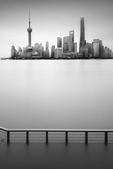 Shanghai II (Tarik Bouamri) Tags: china shanghai bund river huangpu skyline longexposure cityscape asia blackwhite minimalism