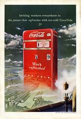 Vintage Coca Cola ad • 1948 (Rocketlandphoto.com) Tags: cocacola vintage vintagead magazine vintagemagazinead ephemera cokemachine coke classic nationalgeographic magazinead scan vintagescan hq 1940s print graphicdesign
