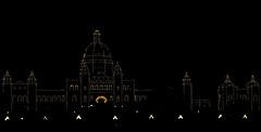 Victoria (LynxDaemon) Tags: victoria britishcolumbia poitillism lights night dark black light noflash cityhall bc canada parliement parliament building city