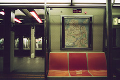 the rider is absent (NYC Macroscopist) Tags: subway nyc manhattan subwaycar underground metro mta new york latenight alone train station biogon2828zm leica film vintage cinestill 50d cinestill50d iso50 crossprocess xprocess leicam6 zeisslens lonely moody atmospheric