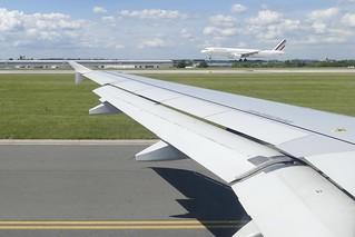 window seat at Prague Prag Praha PRG airport Air France Airbus landing