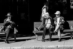 Bus Stop (obLiterated) Tags: people city brisbane street waiting busstop bw monochrome blackwhite