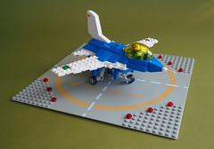 Mockheed-Larkin 61-F (David Roberts 01341) Tags: lego aeroplane jet f16 minfigure aerobatic undercarriage blueandwhite chibi aircraft airplane generaldynamics lockheedmartin