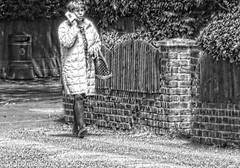 Modern Communication 12 (M C Smith) Tags: wall monochrome pencil pentax k3ii pavement bin walking fence fences road phone bag bushes weeds light shade