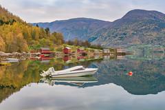 Morning Stillness (Ranveig Marie Photography) Tags: solvorn walaker sogn norge norway boat reflection fjord lustrafjorden luster