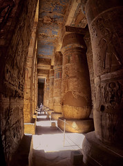 Moody (Don César) Tags: egypt egipto middleeast mediooriente columns columnas temple luxor africa yellow amarillo medinethabu shadow sombra panorama