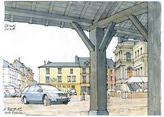 Rocroi (gerard michel) Tags: france champagneardennes rocroi place halle sketch croquis