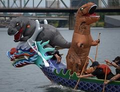 Dinosaur Mascots (Scott 97006) Tags: boat dragon paddle river costumes dinosaur mascot exercise race