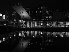 Docklands @ night (Marian Pollock) Tags: australia melbourne docklands night lights building windows people reflection exhibitionbuilding yarrariver architecture crown sign signs city urban