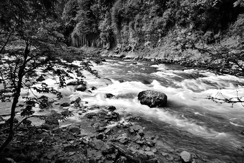A Long Exposure of the Snoqualmie River (Black & White)
