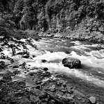 A Long Exposure of the Snoqualmie River (Black & White) thumbnail