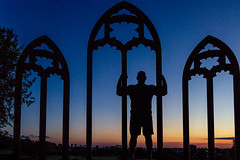 At the Abbey (neal1973) Tags: feizal bodybuilder muscle man silhouette abbey lesness london uk england sunset dusk clouds city skyline dark male model portrait