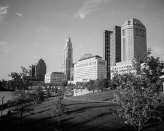 Scioto Mile Skyline - Columbus, Ohio (ryanungeronline) Tags: 120film 2017 fomapan200 ilfosol3 pentax67 bw bwnegative filmphotography