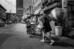 Downtown 617 (soyokazeojisan) Tags: japan osaka bw street city people blackandwhite walk downtown analog monochrome olympus m1 om1 21mm trix film kodak memories 昭和 1970s 1975 bicycle
