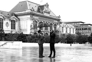 Discussing under the umbrella