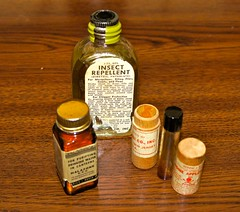 WW-2 U.S. Medic Items (Pacific Kilroy) Tags: ww2 wwii us army medical firstaid worldwarii pacifictheater junglefirstaidkit artifact relic collectible militaria memorabilia m2 medicine glass bottle iodine halozone repellent insectrepellent waterpurificationtablets