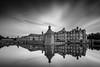 Baroque Castle (frank_w_aus_l) Tags: nordkirchen castle baroque germany nikon d850 nikkor 1635 reflection water clouds sun light exposed monochrome sw noiretblanc netb longexposure nordrheinwestfalen deutschland de